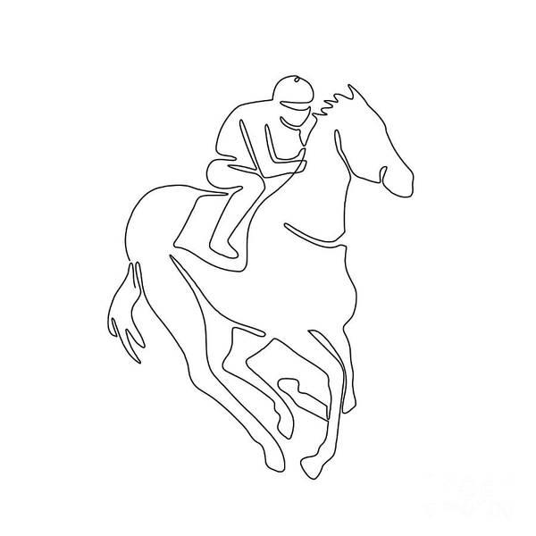 Wall Art - Digital Art - Jockey Horse Racing Continuous Line  by Aloysius Patrimonio