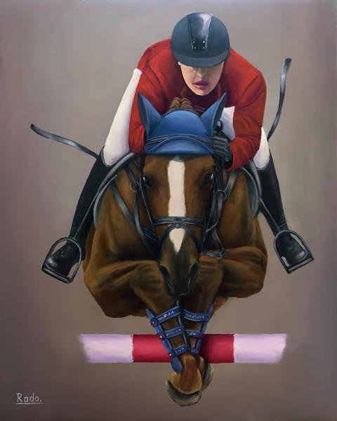 Horsemanship Painting - Jockey Jumping by Radoslav Nedelchev