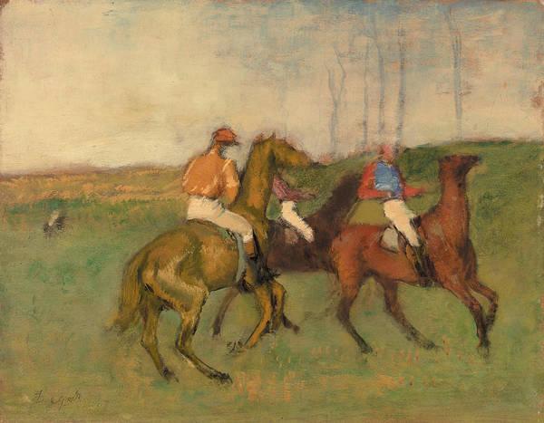 Camel Rider Painting - Jockeys And Race Horses by Edgar Degas