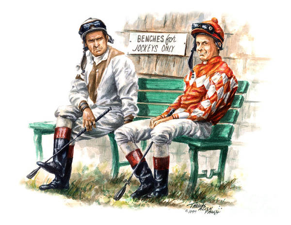Delaware Park Wall Art - Painting - Jockeys Only by Thomas Allen Pauly