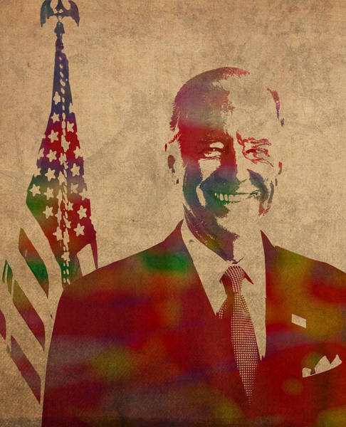 Vote Wall Art - Mixed Media - Joe Biden Watercolor Portrait by Design Turnpike