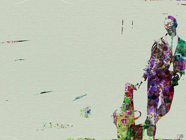 Playing Painting - Joe Henderson Watercolor 2 by Naxart Studio