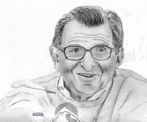 Drawing - Joe Paterno by Pat Moore
