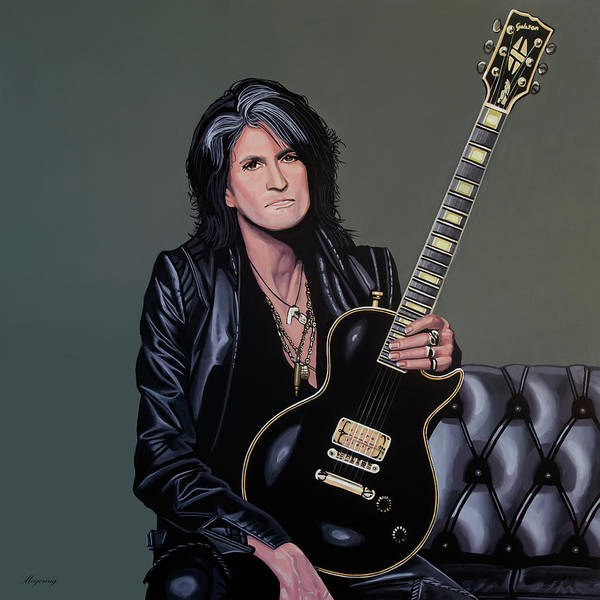 Couch Wall Art - Painting - Joe Perry Of Aerosmith Painting by Paul Meijering