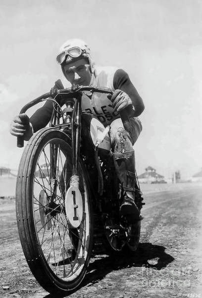 Victory Motorcycle Photograph - Joe Petrali On His Harley Circa 1937 by Jon Neidert