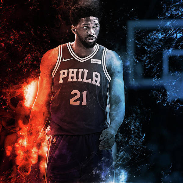 76ers Painting - Joel Embiid - 03  by Andrea Mazzocchetti