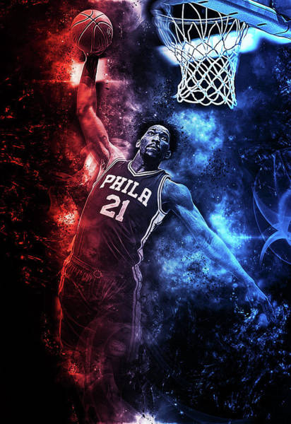 76ers Painting - Joel Embiid - 04 by Andrea Mazzocchetti