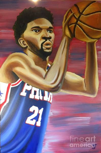 76ers Painting - Joel Embiid Oil Painting by Tucker James