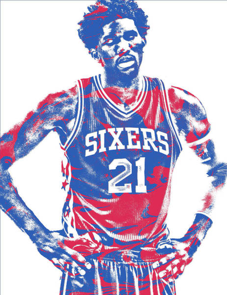 Nba Mixed Media - Joel Embiid Philadelphia Sixers Pixel Art 10 by Joe Hamilton