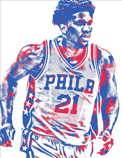 Wall Art - Mixed Media - Joel Embiid Philadelphia Sixers Pixel Art 12 by Joe Hamilton