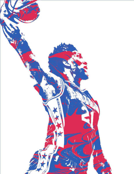 Wall Art - Mixed Media - Joel Embiid Philadelphia Sixers Pixel Art 13 by Joe Hamilton