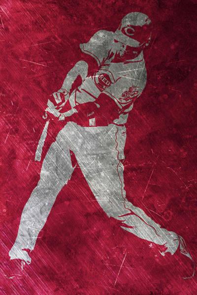 Red Barn Painting - Joey Votto Cincinnati Reds Art by Joe Hamilton