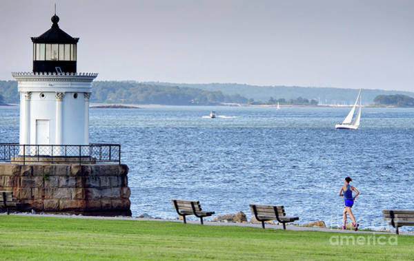 Photograph - Jogger At Bug Light Park, South Portland, Maine  #40164 by John Bald