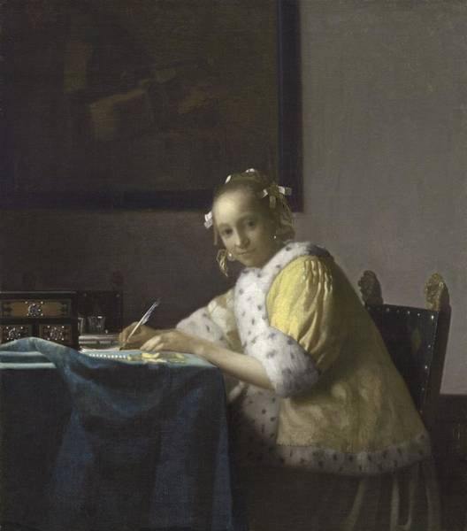 Postmark Painting - Johannes Vermeer A Lady Writing C.  Painting by Johannes Vermeer
