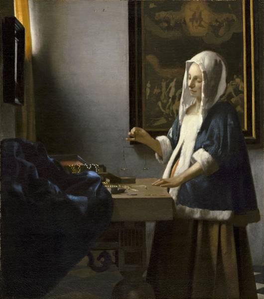 Postmark Painting - Johannes Vermeer Woman Holding A Balance C.  by Johannes Vermeer