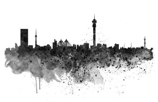 Johannesburg Wall Art - Painting - Johannesburg Black And White Skyline by Marian Voicu
