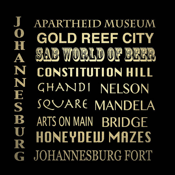 Johannesburg Wall Art - Digital Art - Johannesburg Famous Landmarks by Patricia Lintner