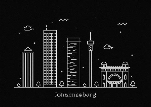Johannesburg Wall Art - Drawing - Johannesburg Skyline Travel Poster by Inspirowl Design