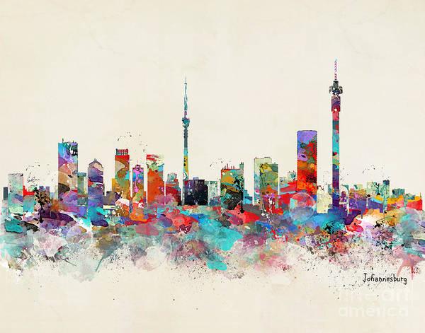 Johannesburg Wall Art - Painting - Johannesburg South Africa Skyline by Bri Buckley