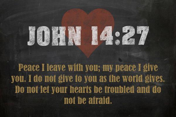 Bible Verse Mixed Media - John 14 27 Inspirational Quote Bible Verses On Chalkboard Art by Design Turnpike