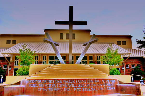 Photograph - John 4 14 Three Crosses H D R by Lisa Wooten
