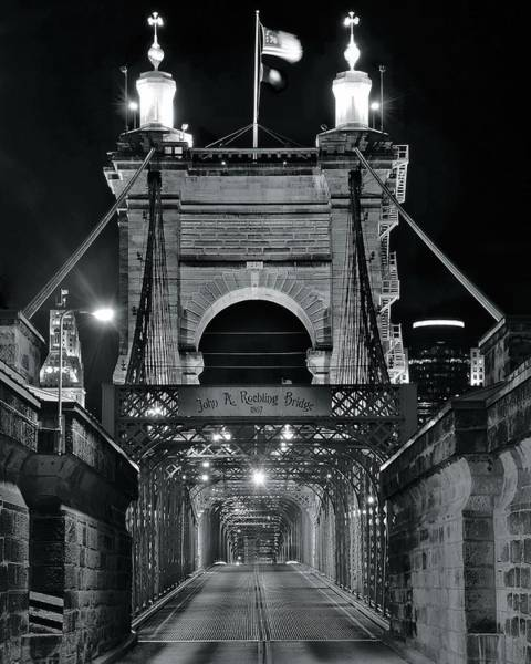 Wall Art - Photograph - John A Roebling  Bridge Monochrome by Frozen in Time Fine Art Photography