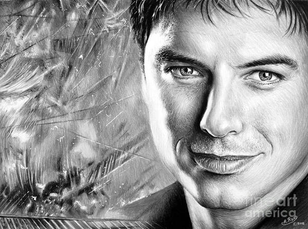 Handsome Drawing - John Barrowman Mbe Bw Version by Andrew Read