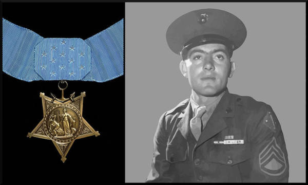 Wall Art - Painting - John Basilone And The Medal Of Honor by War Is Hell Store