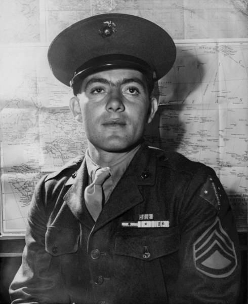Medal Of Honor Photograph - John Basilone - World War 2 - 1943 by War Is Hell Store