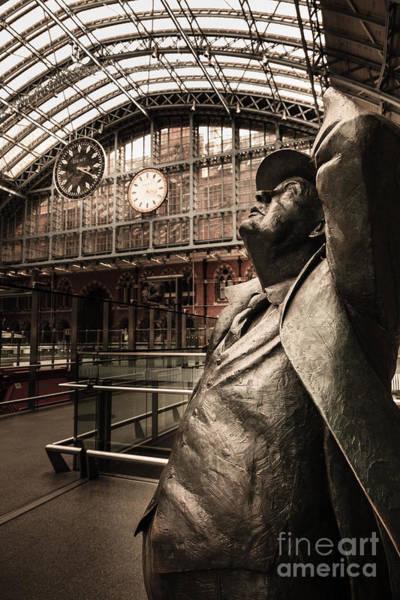 Photograph - John Betjeman And Dent Clockat St Pancras Railway Station by Peter Noyce