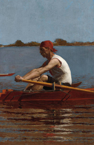 Rowing Wall Art - Painting - John Biglin In A Single Scull by Thomas Eakins