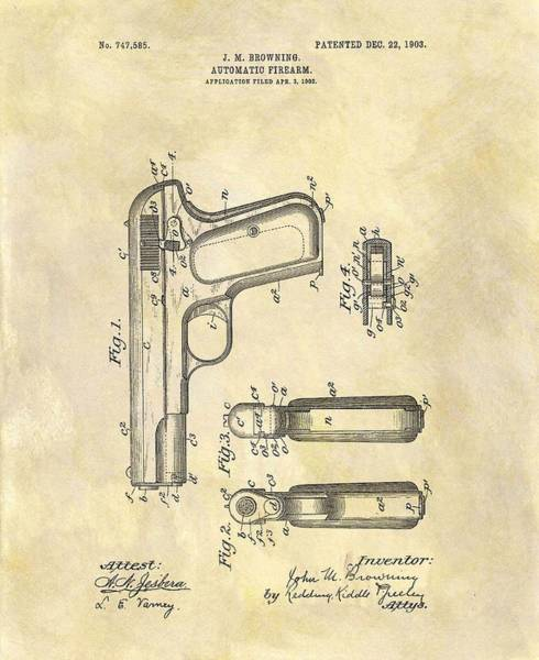 Wall Art - Drawing - John Browning Automatic Pistol Patent by Dan Sproul