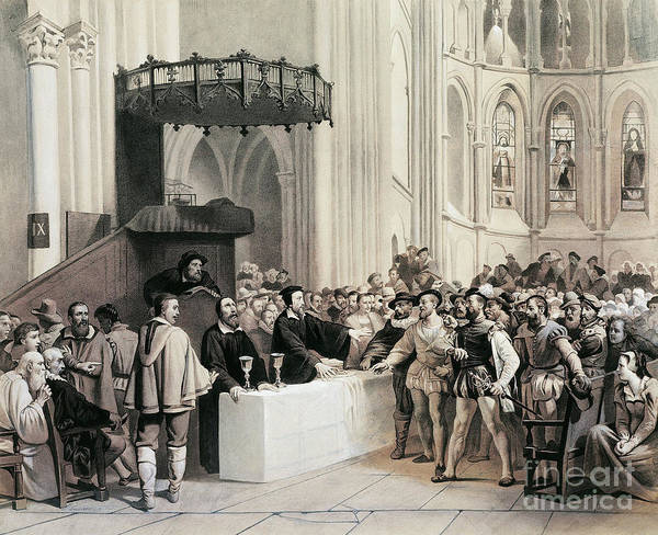 Denial Painting - John Calvin Denying Holy Communion To Libertines In The Cathedral Of Geneva by Swiss School