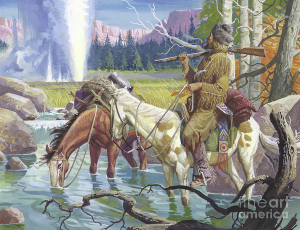 Pioneer Mountains Wall Art - Painting - John Colter by Severino Baraldi