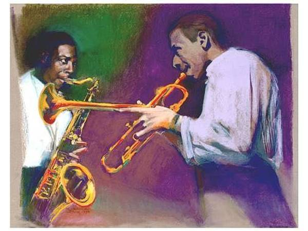 Painting - Horn Play - John Coltrane - Lee Morgan  by Suzanne Cerny