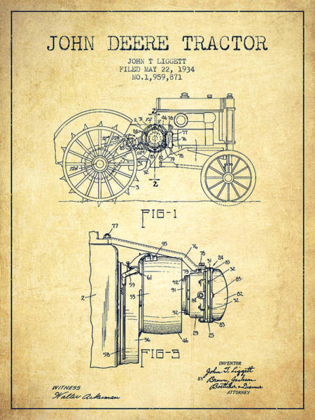 Patent Drawing Wall Art - Digital Art - John Deere Tractor Patent Drawing From 1934 - Vintage by Aged Pixel