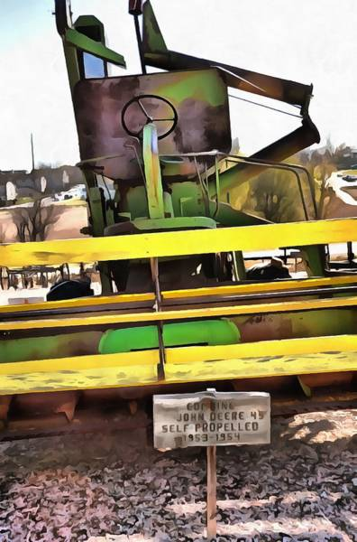 Mixed Media - John Deere Combine 2 by Angelina Tamez