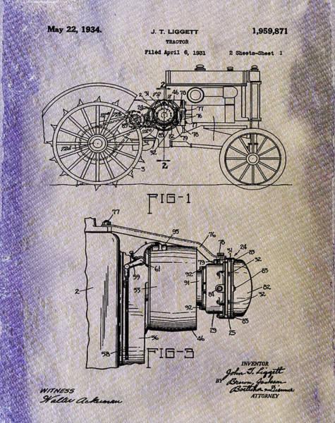 Wall Art - Photograph - John Deere Tractor Patent 1934 Blue Denim by Bill Cannon