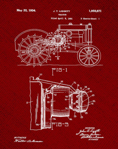 Wall Art - Photograph - John Deere Tractor Patent 1934 In Red by Bill Cannon