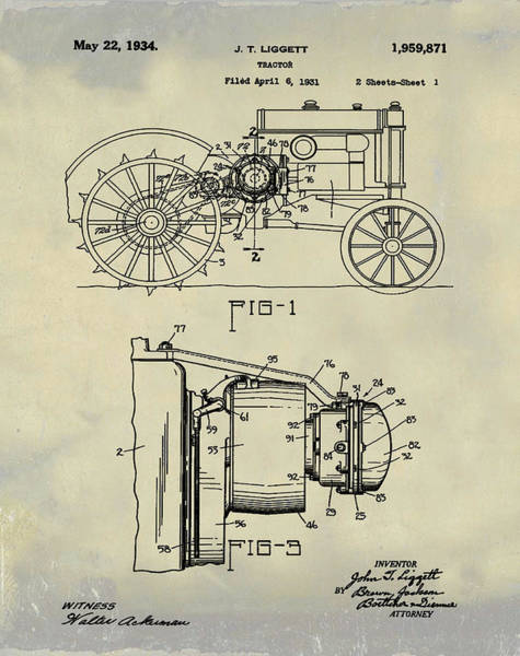 Wall Art - Photograph - John Deere Tractor Patent 1934 In Vintage by Bill Cannon
