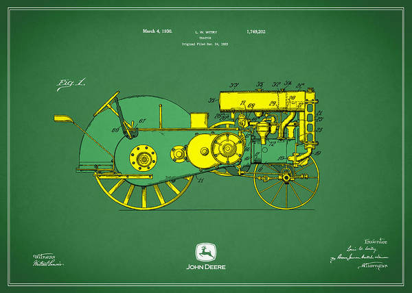 Rural Scene Photograph - John Deere Tractor Patent by Mark Rogan
