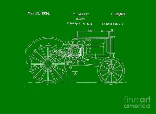 Farming Digital Art - John Deere Tractor Patent Tee by Edward Fielding