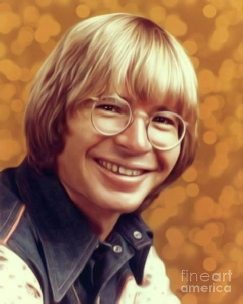 Wall Art - Digital Art - John Denver, Music Legend by Mary Bassett