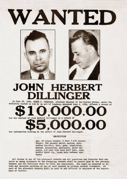 Mugshot Wall Art - Photograph - John Dillinger Wanted Poster by War Is Hell Store