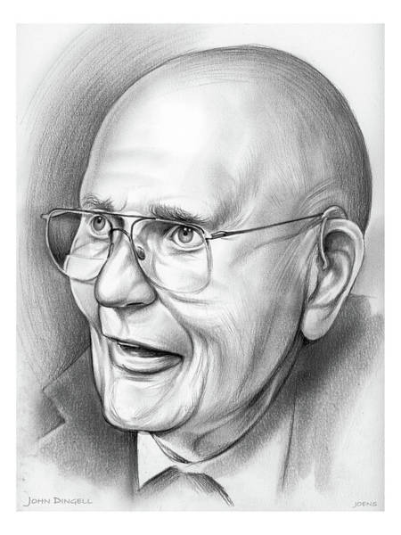Political Wall Art - Drawing - John Dingell by Greg Joens