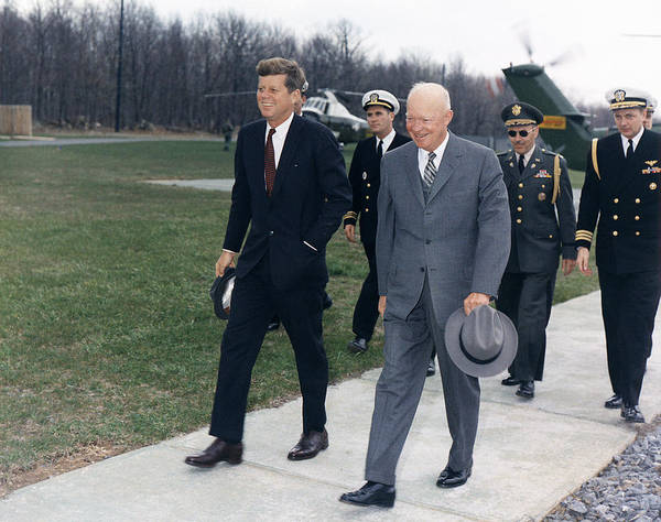 Photograph - John F. Kennedy And Dwight D. Eisenhower by Robert Knudsen