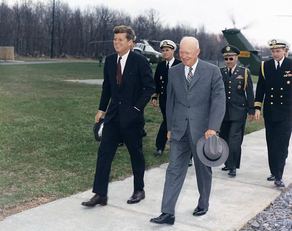 Photograph - John F. Kennedy And Dwight D. Eisenhower by Granger