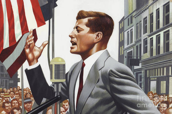 People Watching Painting - John F Kennedy Speaking. by Ron Embleton