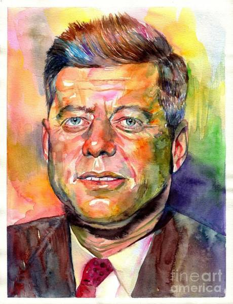 Wall Art - Painting - John F. Kennedy Watercolor by Suzann Sines