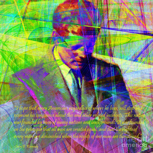 Photograph - John Fitzgerald Kennedy Jfk In Abstract 20130610v2 Square Text by Wingsdomain Art and Photography